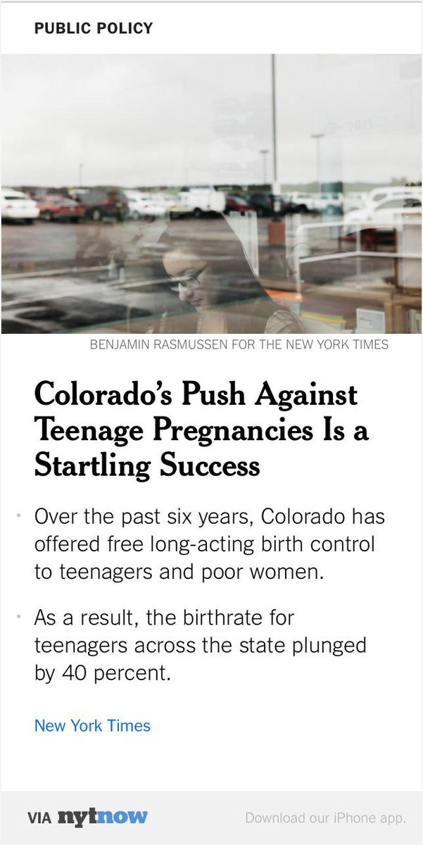 Colorado's Effort Against Teenage Pregnancies a Startling Success – via @NYTNow HT @stavernise http://t.co/mbkf7OKc6O http://t.co/uAnPYnNnDy