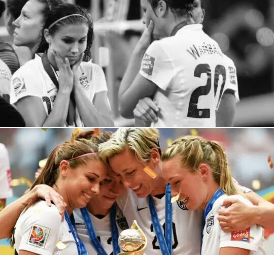 The #USWNT changed their lives, and America in just four years! So can you! #MondayMotivation #NoMaybes L.E.S.G.O! http://t.co/l3oTKgxGrz