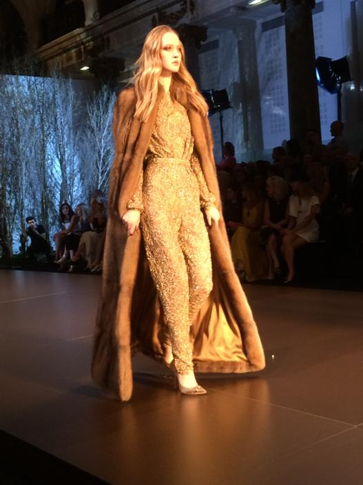 RT @VVFriedman: Floor-length fur and gold beaded jumpsuit at @Ralphandrusso #couture. Well, movie stars like it. http://t.co/y4TsshKkcj