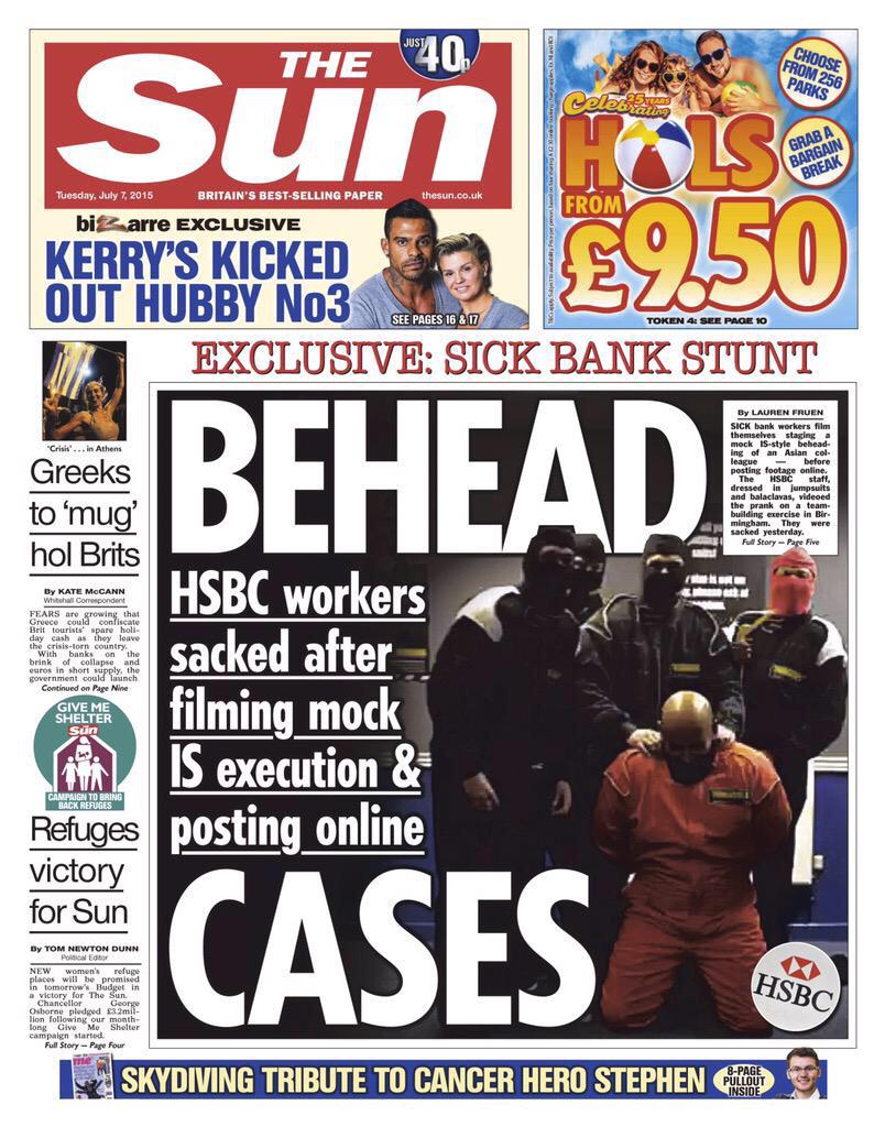 RT @AndyBizarre: Shocking front page from the brilliant @laurenfruen tomorrow. HSBC workers in beheading stunt. http://t.co/71pyVyuFZQ