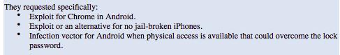 Que solicito la PDI a HackingTeam: Explotar Chrome en Android, iOS sin Jailbreak y bloqueo de pantalla en Android http://t.co/bfjqwjdvJd