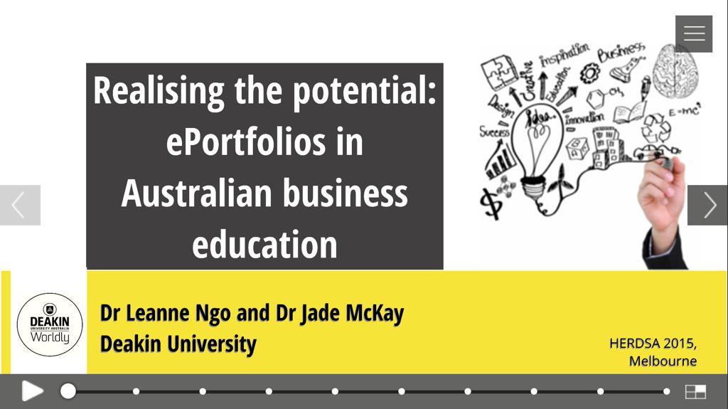 All set for #HERDSA2015. Jade McKay & I are presenting on 'Realising the potential:  ePortfolios in Australian BusEd' http://t.co/9VLUyuBnWl