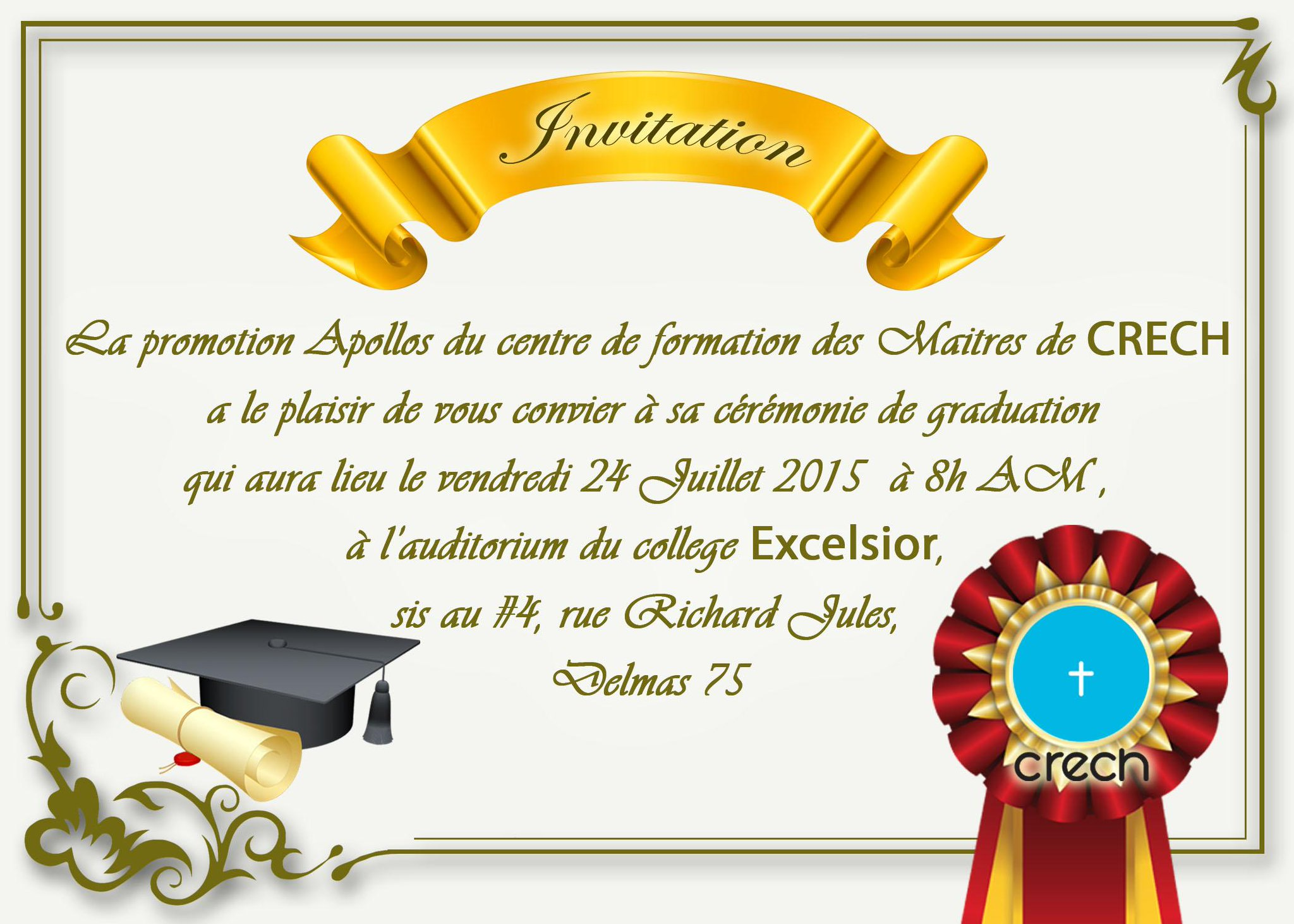 crech on twitter carte d 39 invitation la c r monie de graduation de la promotion apollos. Black Bedroom Furniture Sets. Home Design Ideas