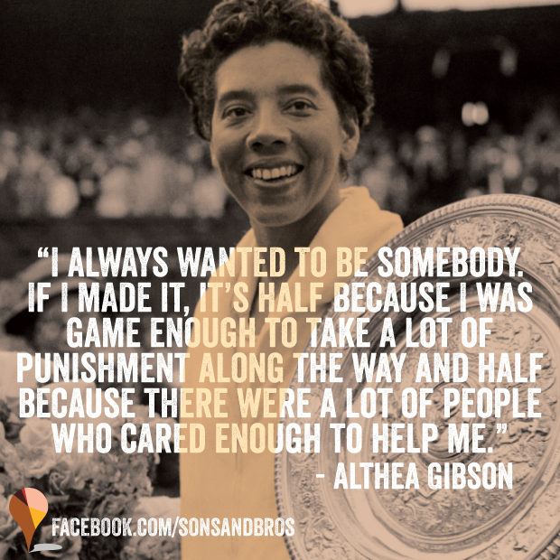 RT @sonsandbros: On this day in 1957, Althea Gibson became the first African American woman to win Wimbledon. #BreakingBarriers http://t.co…