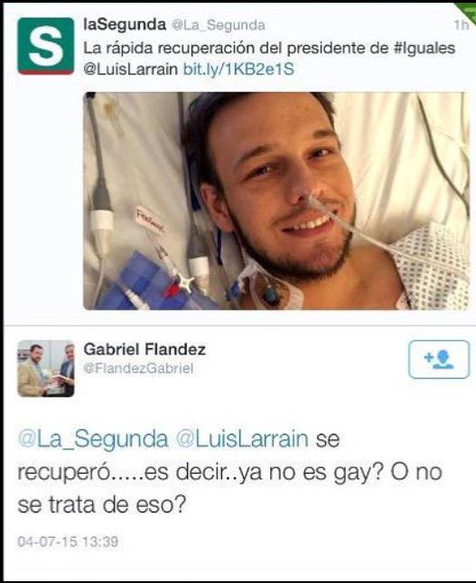 Miserable @FlandezGabriel una vergüenza q Las Condes  lo tenga de concejal.   @LuisLarrain http://t.co/4za2B1vdZD