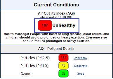 Bad to worse. MSP AQI now at an incredible 187. The smoke we smell was trees in western Canada a few days ago. http://t.co/uQMsoVJ52y