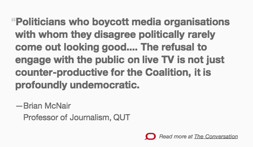 ICYMI: @Brianmcnair's excellent  analysis on #qanda boycott  https://t.co/hm9Mf0Hd27 http://t.co/IpIWeRbOBk
