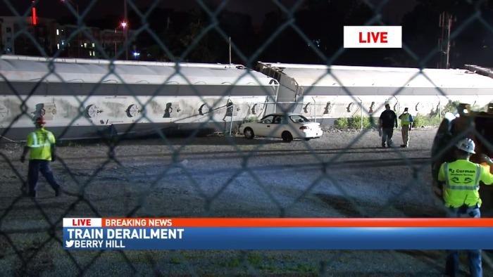 Live video from train derailment in berry hill  tune in now