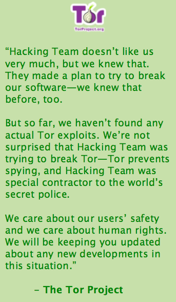A message from the Tor Project about #HackingTeam. http://t.co/Yp6MDzIpyA