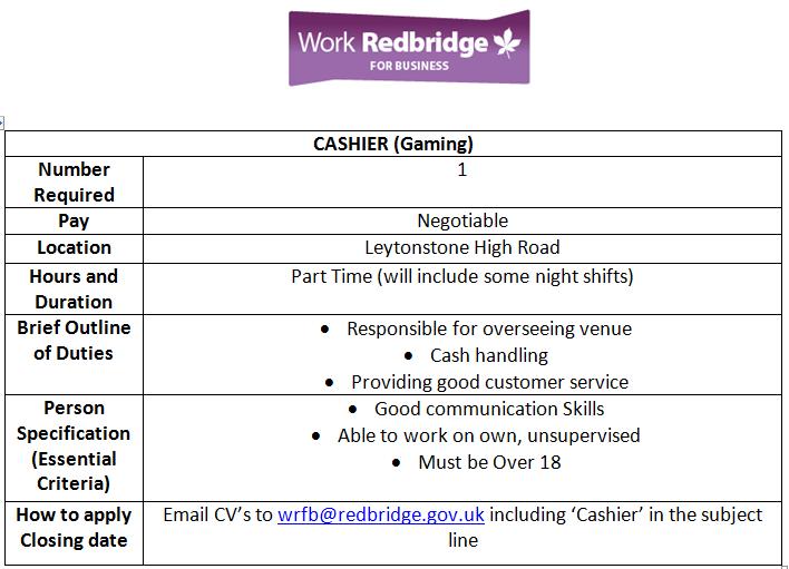 """Work Redbridge On Twitter: """"Cashier Job Apply Now: Email Cv'S To"""