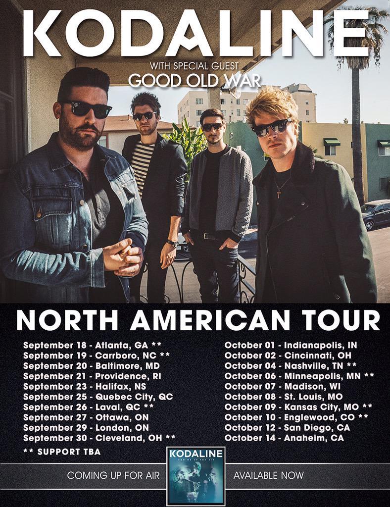 Kodaline Good Old War North American tour
