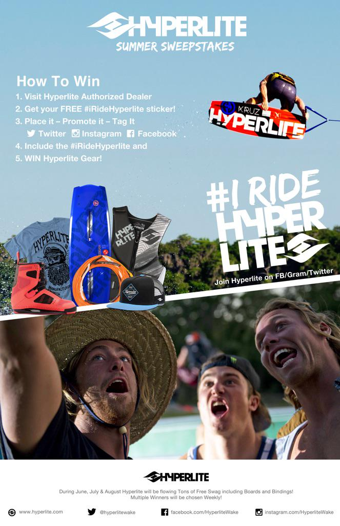 Hyperlite Summer Sweepstakes is in full swing, visit your Pro Shop, grab the #iRideHyperlite decal and Enter! http://t.co/SWUP386A5j