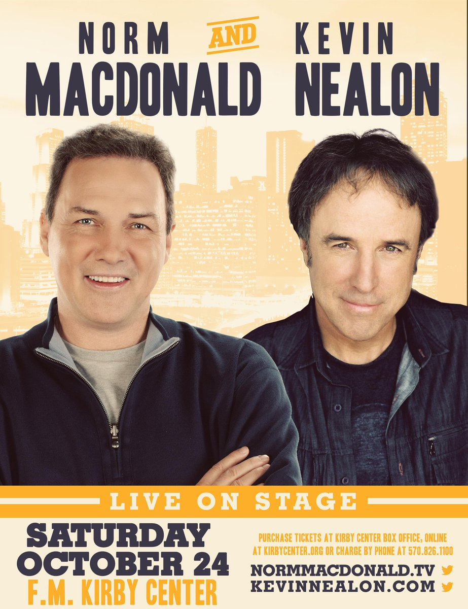 .@normmacdonald and @kevin_nealon coming to the @FMKirbyCenter: http://t.co/17GC2KDciq http://t.co/KLjMxLXpgD