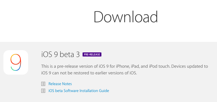 iOS 9 Beta 3 is here! You might have to wait a few minutes until it propagates through CDN. Check developer portal. http://t.co/bOLTtG3Ls2