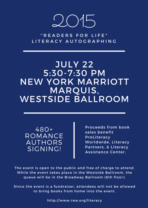 Love romance & live in NYC? Join us July 22, 5:30-7:30 p.m., @ NY Marriott Marquis for the Literacy Autographing! http://t.co/7LWKvKAPZ7