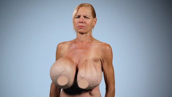 Giant fake boobs beyond the limits