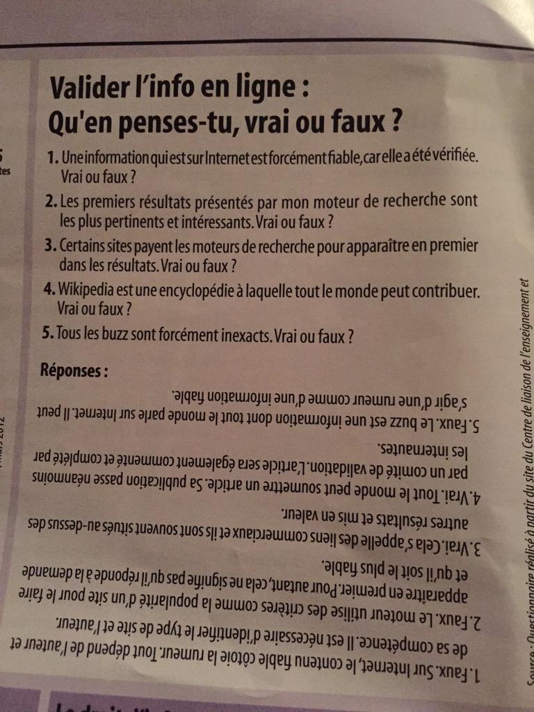 Petit quiz sur l'info en ligne avant dodo. (In 'Oze', la revue @sgdf.