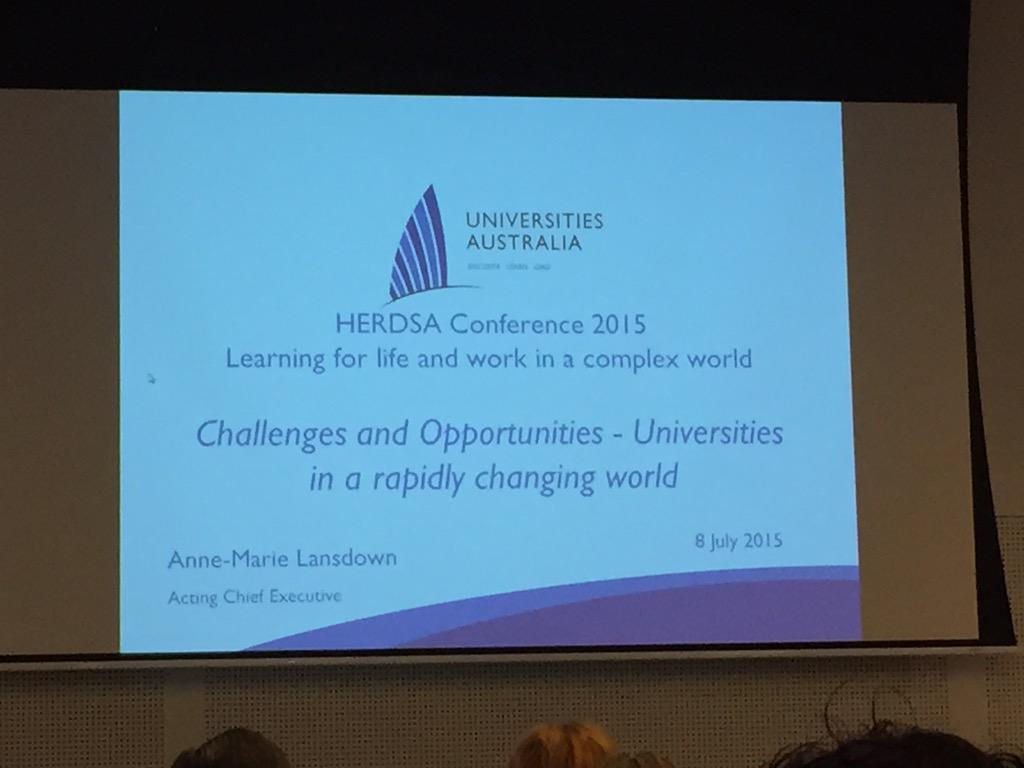 Challenges and Opportunities - Universities in a rapidly changing world by Anne-Marie Lansdown #HERDSA2015 http://t.co/UMFe0a94R4