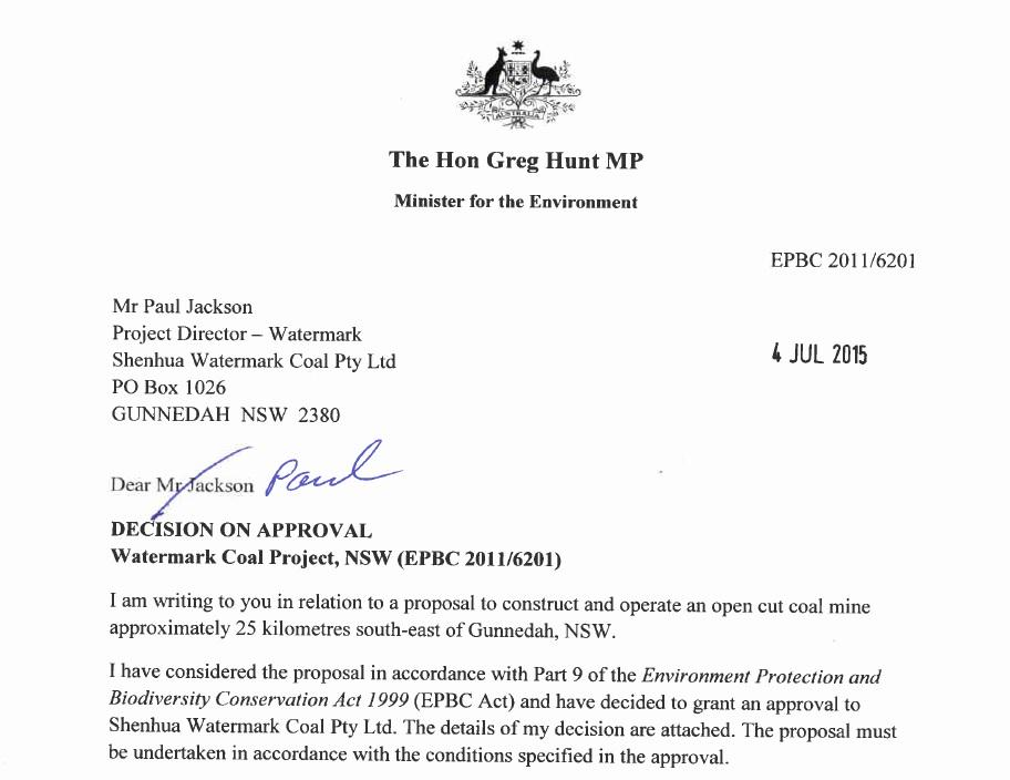 #BREAKING @GregHuntMP has approved the #Shenhua Watermark mine for the Liverpool Plains AKA the food bowl of Oz. http://t.co/bE4LssRv8y