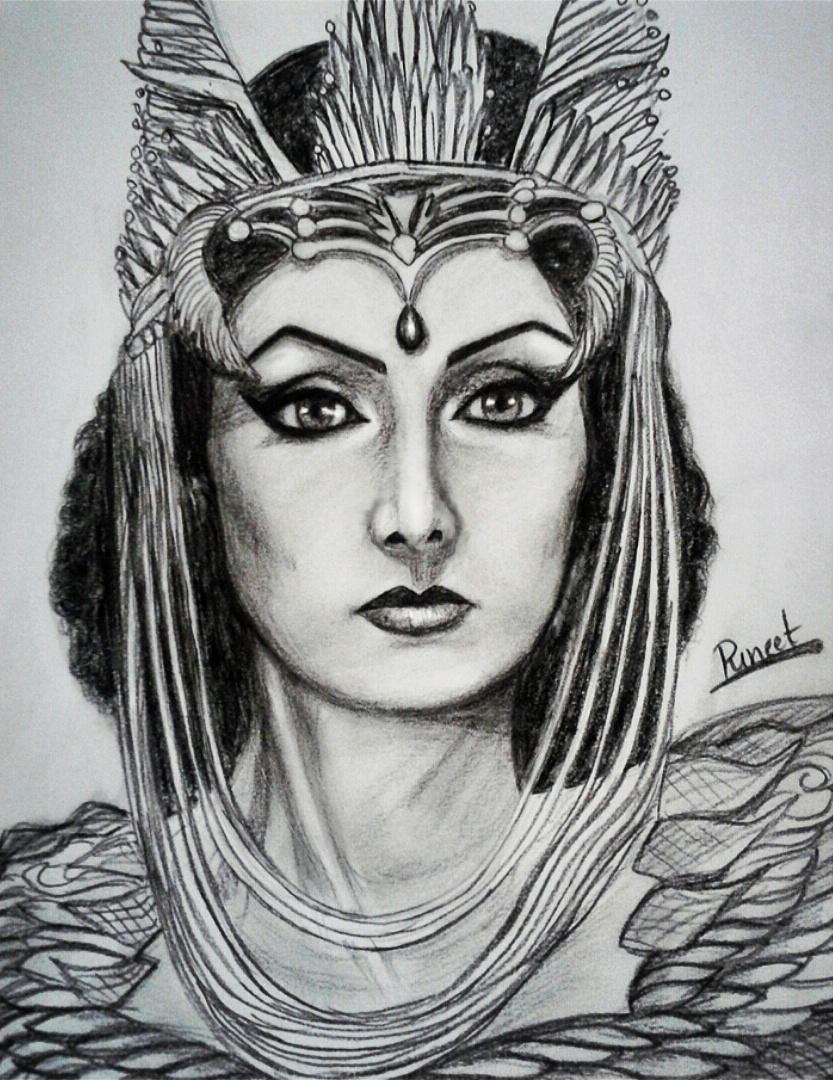 Puneet sharma ❄ on twitter heres my pencil sketch of the queen of all queens the most talented beautiful sridevi
