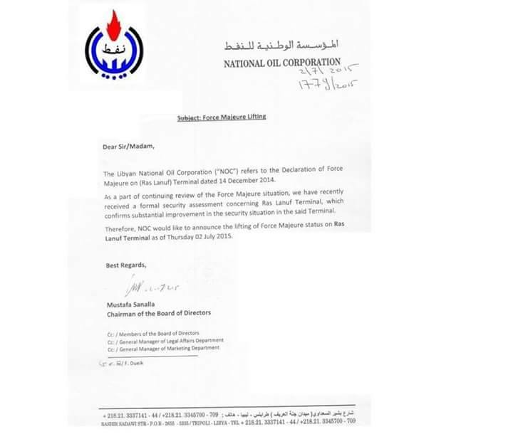 Libyaschannel EN on Twitter Belatedly published NOC letter on – Noc Letter