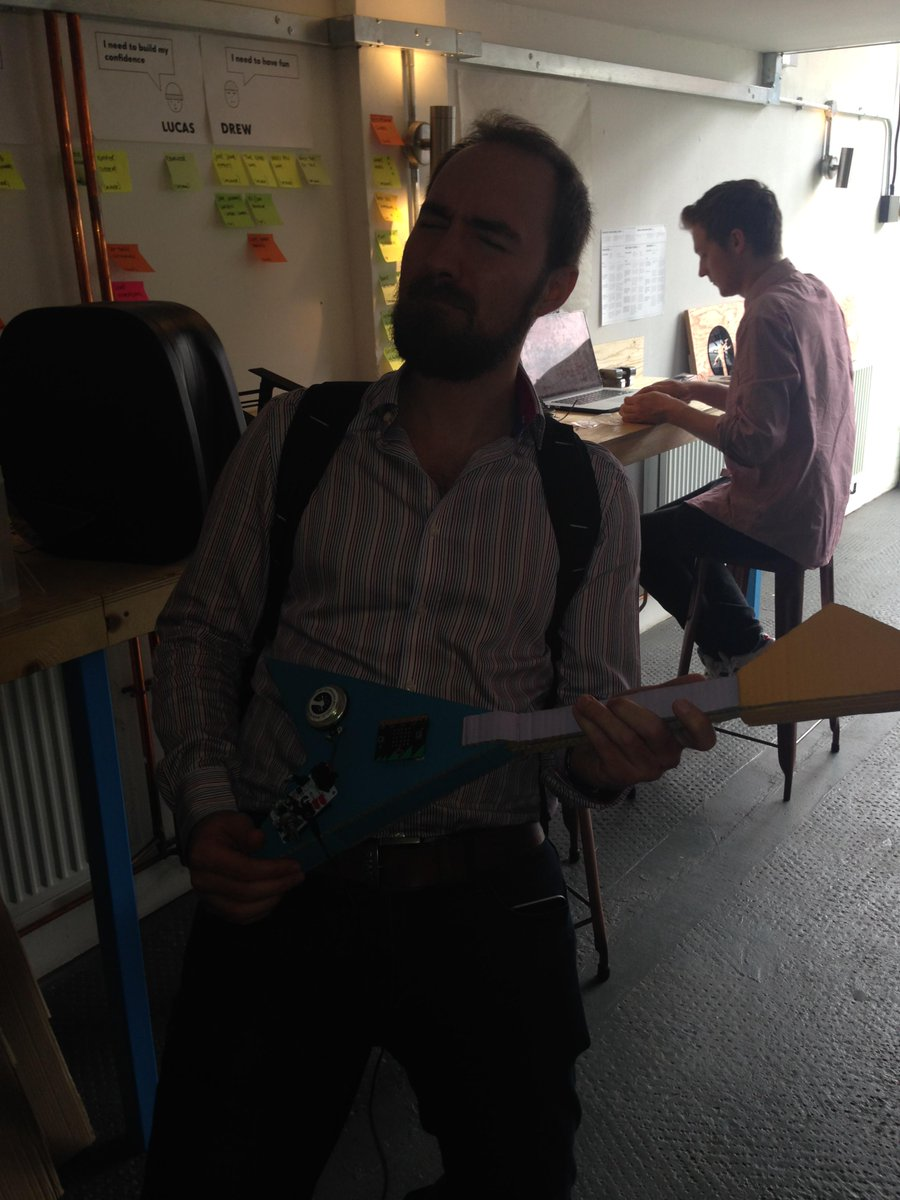 Fantastic morning spent with Hirsch&Mann, the folks behind the microbit (as demoed by axe wielding @jeremycdalton http://t.co/8X3CRSYHNo