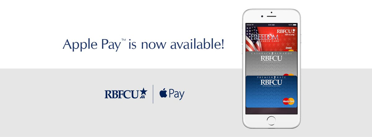 #ApplePay is now available at RBFCU! Visit https://t.co/2kakJl2S1D for more details. http://t.co/NfVznvrs1H