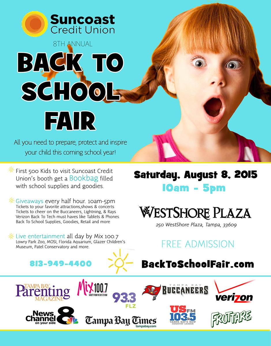 Save the date @SuncoastCU 8th annual Back To School Fair is August 8th at @WestShorePlz  @Verizon @Fruttare http://t.co/evxnf9aVuF