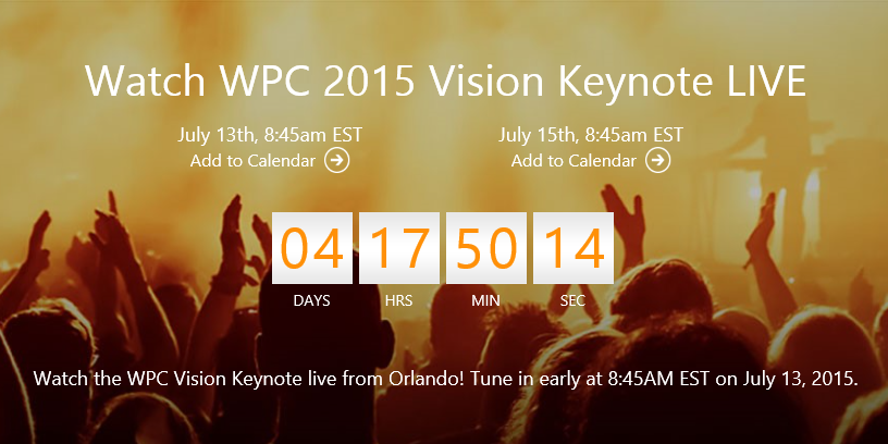 Watch the Vision Keynotes at #WPC15 live online next Monday and Wednesday mornings http://t.co/LI2ej2mny9 http://t.co/FX73WzEADG