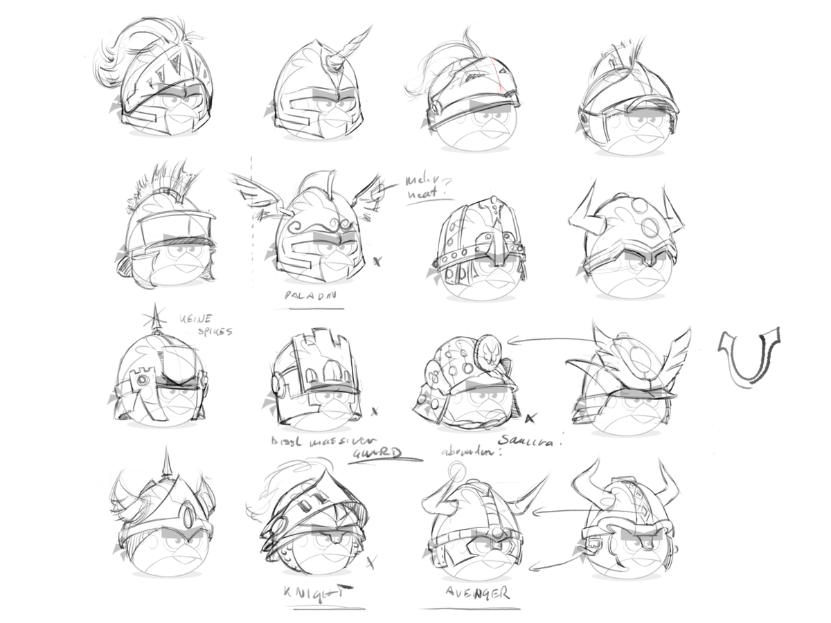 Angry birds epic on twitter check out some really cool sketches for reds headgear which ones your favorite http t co fakipgkejb