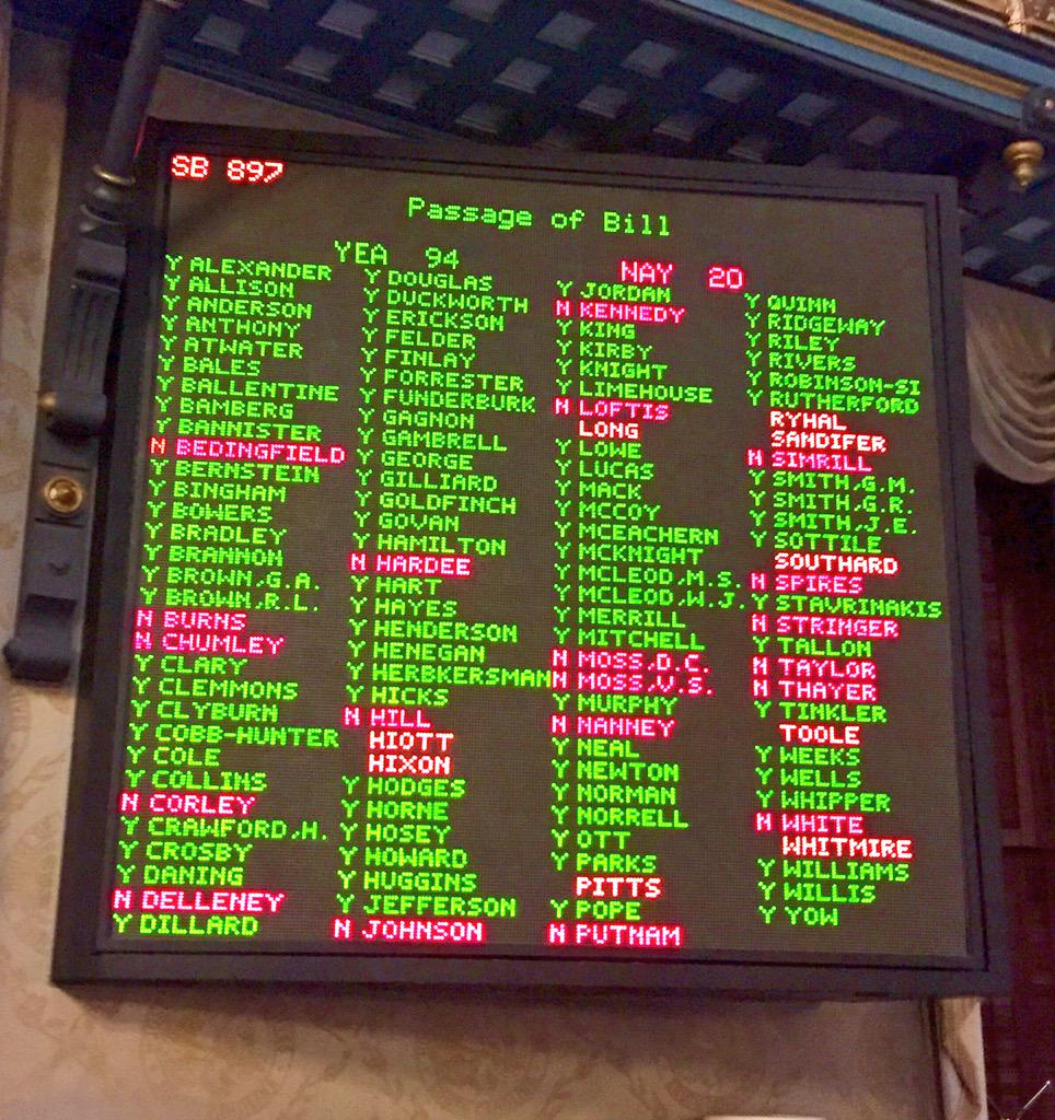 94-20 #SChouse votes Third Reading sends bill to @nikkihaley to remove the #ConfederateFlag from @SCStatehouse http://t.co/X9JU6eEsAt