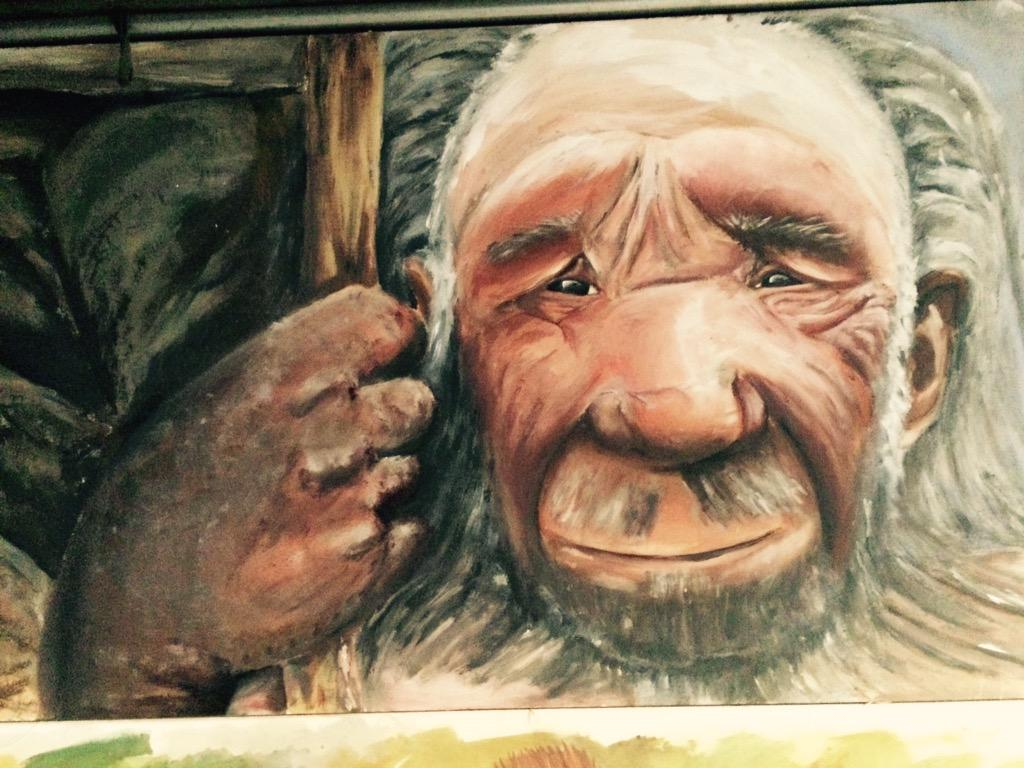 Painting done for #iceageisland @loveheritage exhibition. Student from @HautlieuSchool only 14 Amazing #neanderthal http://t.co/QZl96nGU99