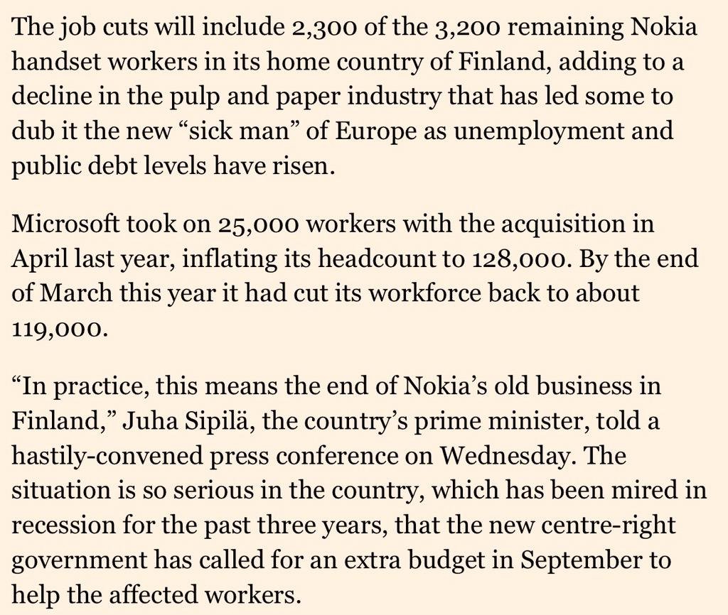 Dark days in Finland as Microsoft cuts run deep into remains of Nokia Devices business. @FT: http://t.co/XAsTX1HmF7 http://t.co/K5RfnZaGb7