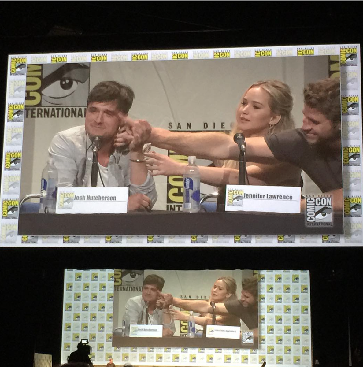Jen and Liam try to console Josh when he gets emotional about the #MockingjayPart2 ending https://t.co/gQ2KlZsFIx http://t.co/NLQjfsxvJZ