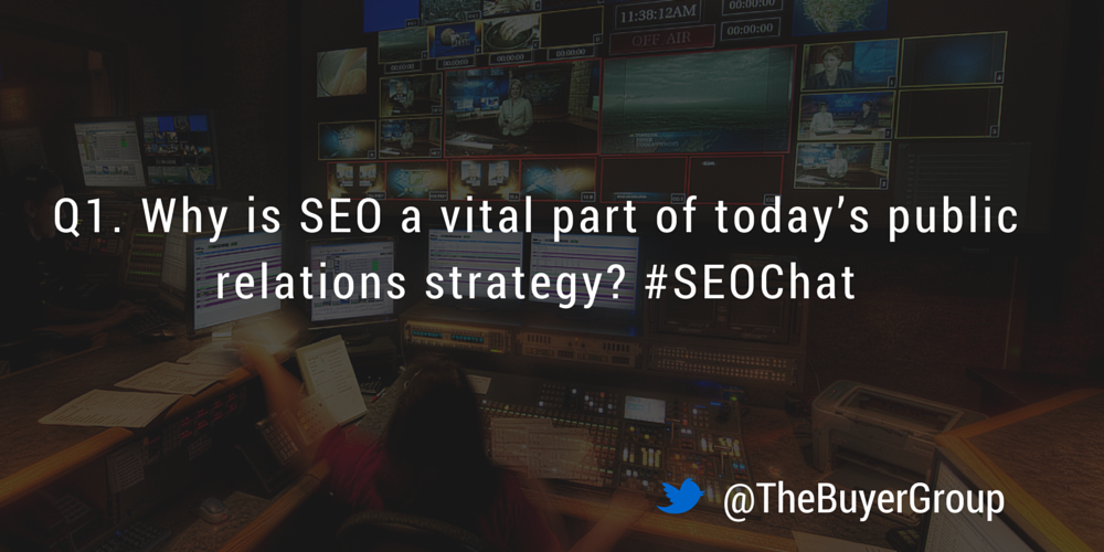 Great to tweet you all! Let's jump in with Q1! Why is SEO a vital part of today's public relations strategy? #SEOChat http://t.co/u07mWJF7G9