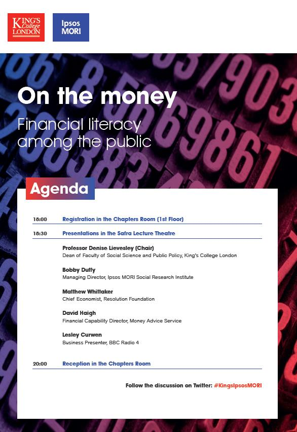 Our #KingsIpsosMORI event on public understanding of #financial matters @KingsCollegeLon starting shortly http://t.co/DTQQwMARHI