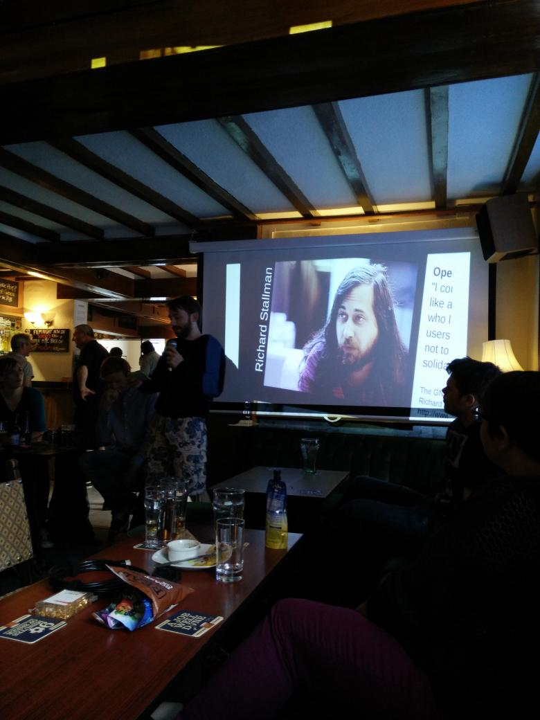 I knew there'd be at least one RMS picture in this presentation. Please keep your shoes on... @GeekeasyDerby http://t.co/GBUUTB2wTw