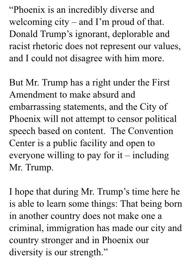 Regarding Donald Trump bringing his ignorant, deplorable and racist rhetoric to Phoenix Convention Center: http://t.co/riV0ReTVwe