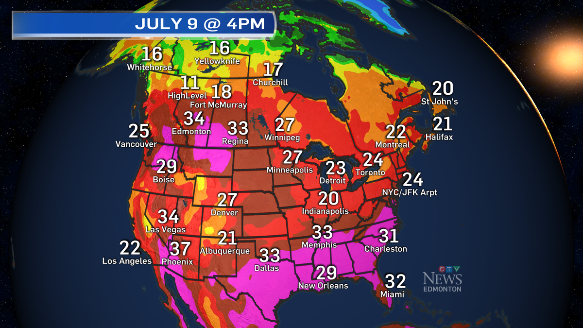 At 4pm - Some of the hottest weather on the continent is in Alberta. #yegwx http://t.co/l5iWfLYyPo