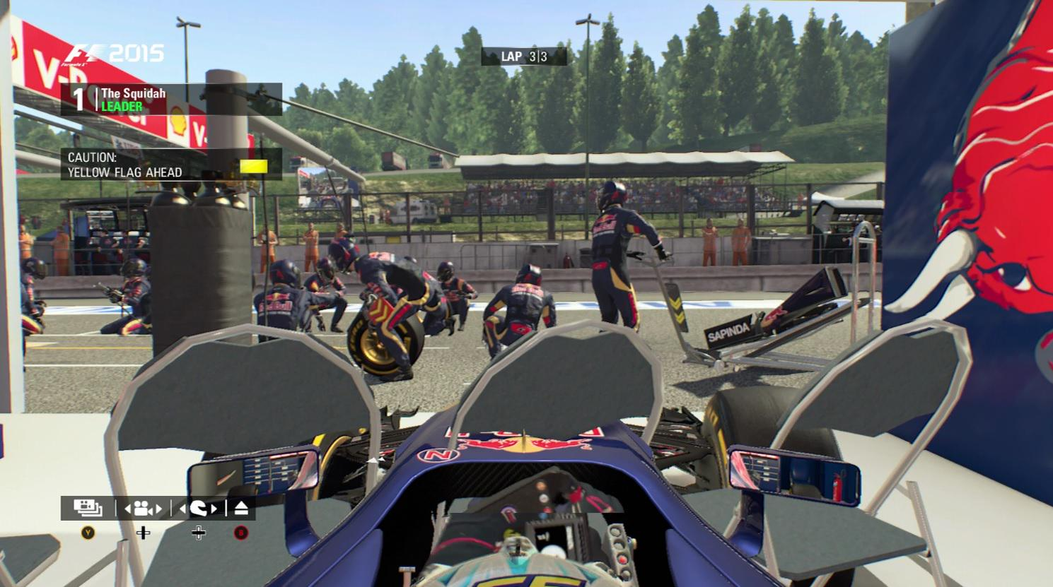 Stuck in the garage during F1 2015 game race