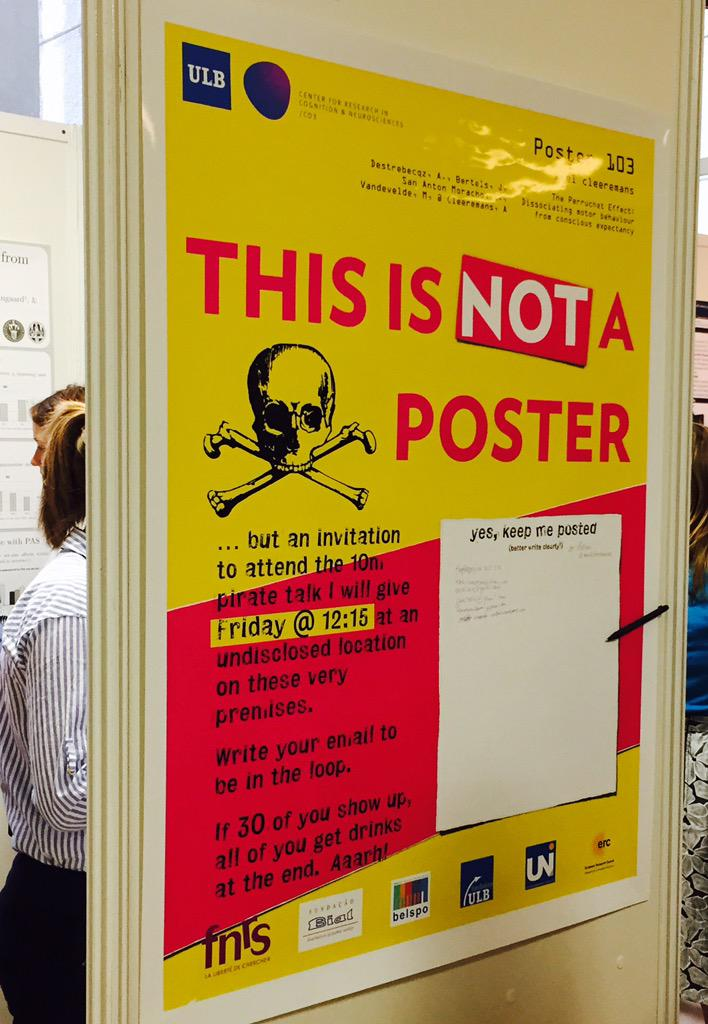 OK Pirate talk is ON at 12:15 first floor (poster floor) in the hallway at top of stairs #ASSC19 http://t.co/r09NeKBS42