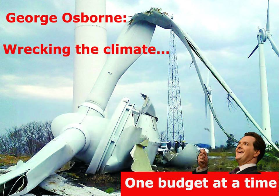 Osborne takes £910 mn per year from renewables & gives more support to North Sea Oil. The budget = climate disaster http://t.co/WjMYHhVWWN