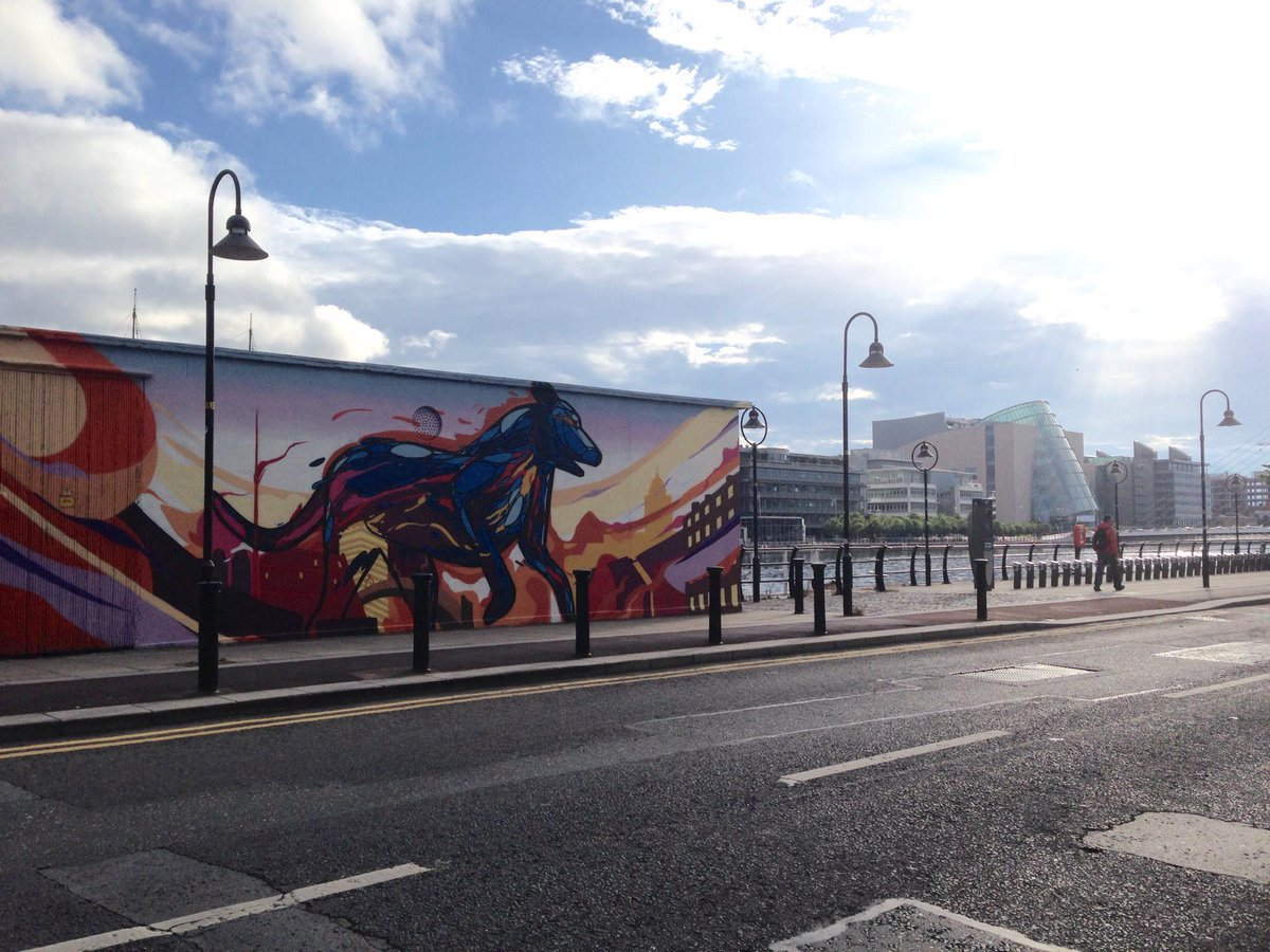 On my way to the Dublin Convention Centre for #BOSC2015 - at a brisk walk not a gallop like this horse graffiti art http://t.co/4F4FGKRpfb