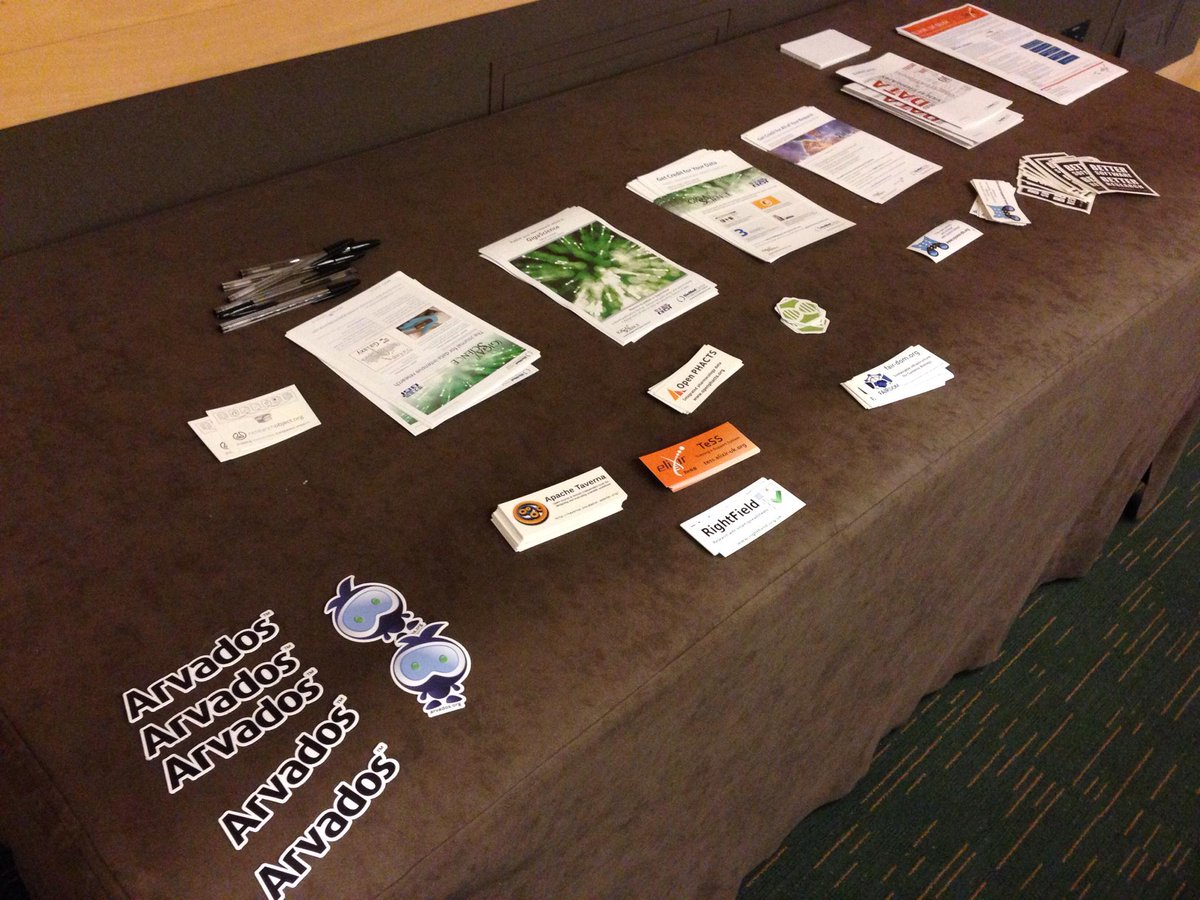 growing sticker collection on table at the back of #BOSC2015 room, sponsors & #opensource projects being presented http://t.co/S1ujW5jJNV