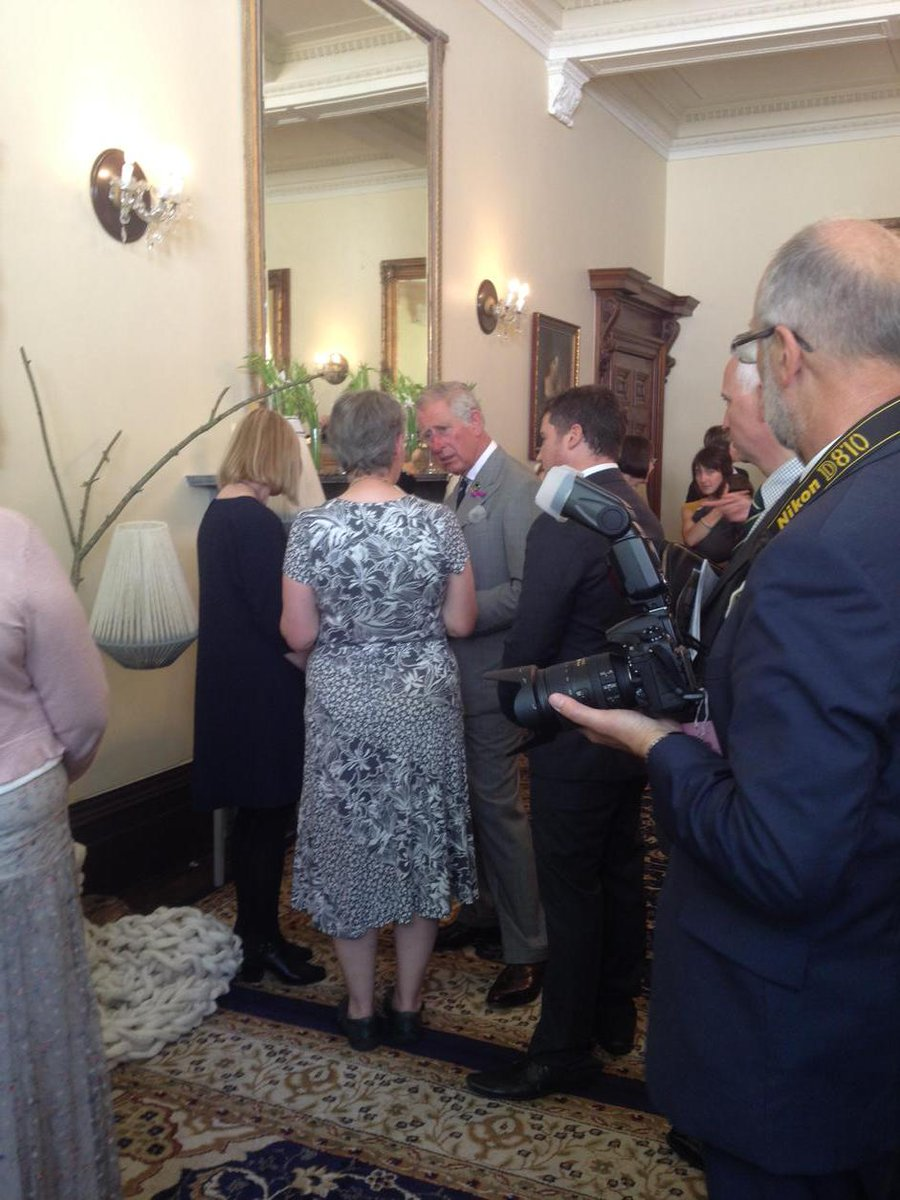 In Wales at an exhibition of Welsh wool products - VIP guest: HRH Prince Charles. http://t.co/7rzgq04QDk