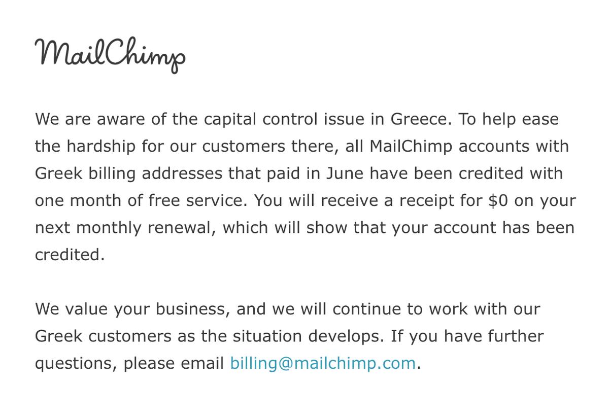 Thank you @mailchimp! #greece #CapitalControls http://t.co/aF3cQudJ3e