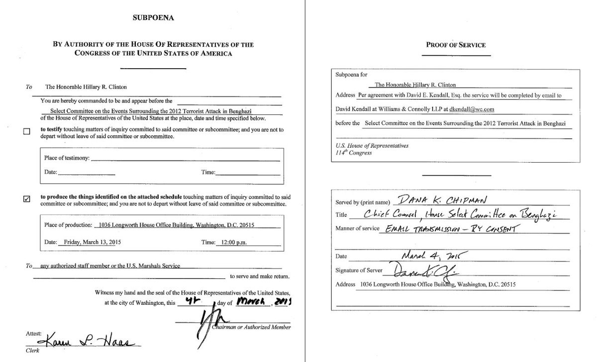 Picture of the subpoena Hillary Clinton claims she never received, including Proof of Service. #tcot http://t.co/tW8KHCOHjG