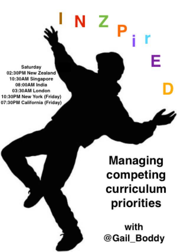 Welcome colleagues, educators & education enthusiasts to #INZpirED Topic: Managing competing curriculum priorities. http://t.co/3STRAxCIfE