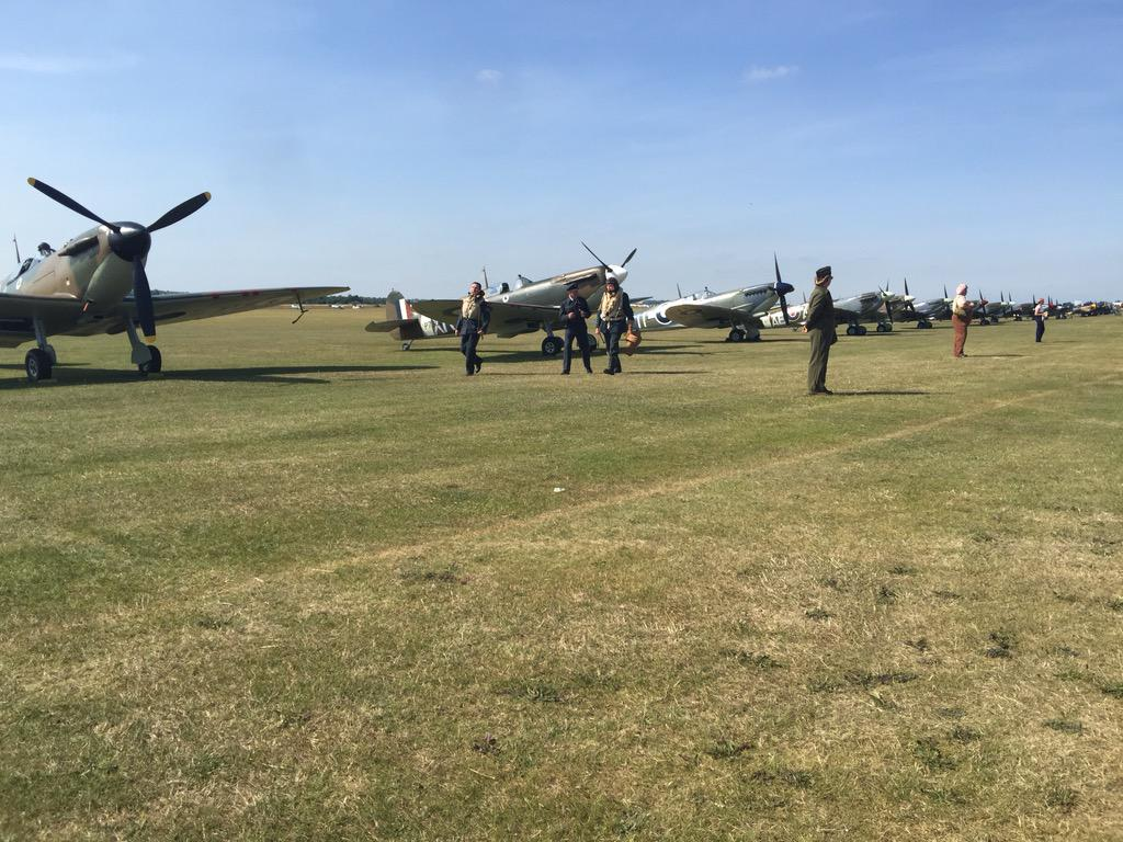 You don't see 14 Spitfires in a row too often @Flying_Legends @Bremont http://t.co/kXNDwHiwfw