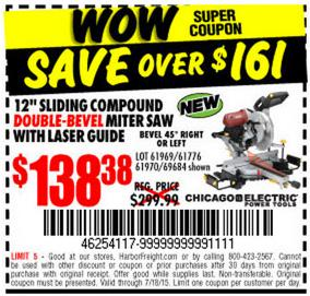 harbor freight miter saw. double-bevel sliding compound miter saw w/ laser guide system. http://bit.ly/1epj5f0 pic.twitter.com/khunqh7rct harbor freight